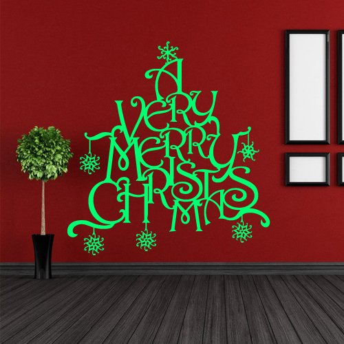 Wall Decal Decor Decals Art Merry Christmas Spruce Letters Inscription Snowflake Congratulation Tree Gift (M558) front-628801
