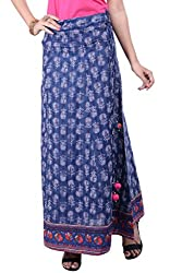 Rene Women's Blue Cotton Printed Flared Fit Long Skirt