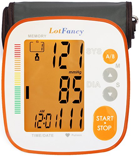 LotFancy Blood Pressure Monitor, Digital BP Machine - Automatic Home Measurement Device, 2 User Mode,Irregular Heartbeat Detector, Large, 8.6-16.5