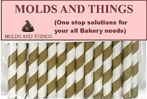 Cake Pop Sticks-Gold Stripe