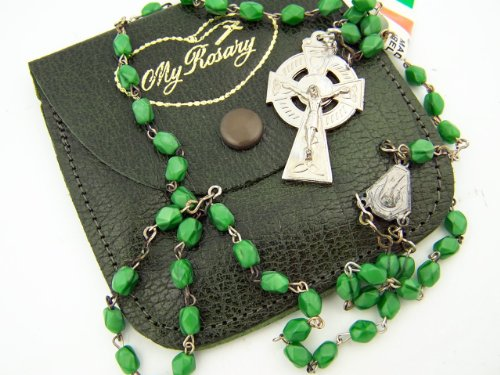 Silver Plate Green Marble Bead Irish Celtic Rosary w Genuine Leather Case Pouch