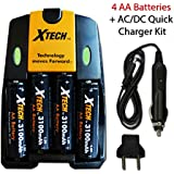 4 AA NiMH Rechargeable Batteries (3100mAh) + AC/DC Quick Charger Kit For FujiFilm Instax Mini 8 Mini 7 Mini 7s...