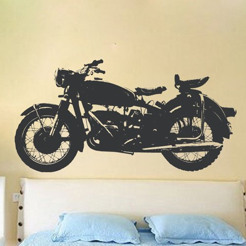 """23.6"""" X 47.2"""" Black Motorcycle Wall Art Decor Removable Stylish Sticker Mural Diy Vinyl D¨¦Cor For Youngster Room Home. front-906645"""