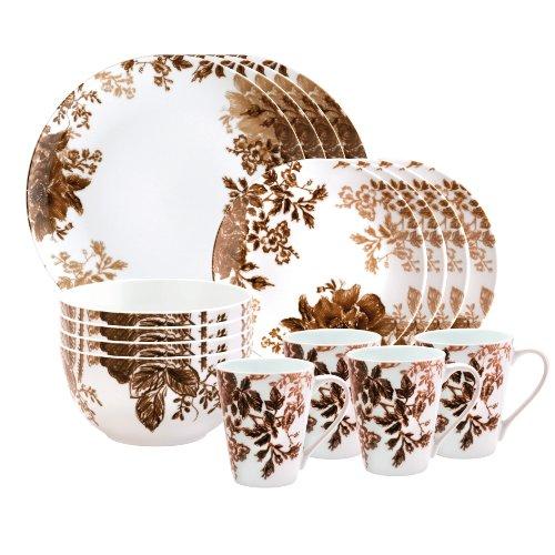 Paula Deen Signature Dinnerware Tatnall Street 16 Piece Dinnerware Set, Coffee Bean