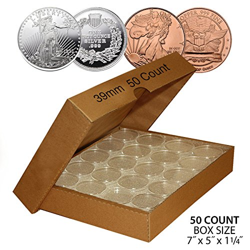 50-SILVER-or-COPPER-ROUNDS-Direct-Fit-39mm-Coin-Capsule-Holder-QTY-50-w-BOX
