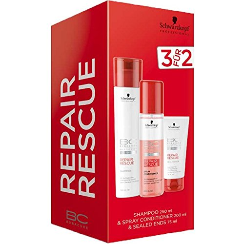 schwarzkopf-bc-bonacure-repair-rescue-trio-pack-shampoo-250-ml-sealed-ends-75-ml-gratis-spray-condit
