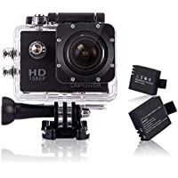 DBPower 12MP Full HD 1080p Waterproof Action Camera with 2 Batteries