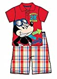 Disney Mickey Mouse Baby Boy Polo T Shirt and Plaid Short Outfit - Red White Blue