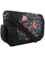 Girls Womens Floral School College Uni Messenger Bag (Black/Purple/Red)