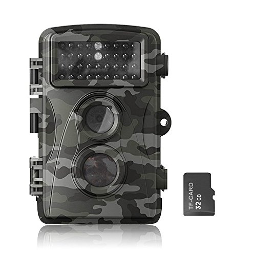 Flinelife HD Maximum Support 12MP Game and Trail camera for Deer Hunting , Perfect Day&Night Captures with Low Glow Black Infrared, 0.6 second Trigger Speed Digital Surveillance Camera+32G Card 51Lwrb Gb7L
