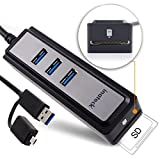 [3-in-1] Inateck 3-Port USB 3.0 Hub with Micro SD Card Reader Combo and OTG Adapter Special for   Laptops, Ultrabooks, Tablet PCs with USB Ports, Smar