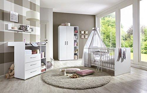 babyzimmer kinderzimmer komplett set kim 1 in wei komplettset mit grossem kleiderschrank. Black Bedroom Furniture Sets. Home Design Ideas