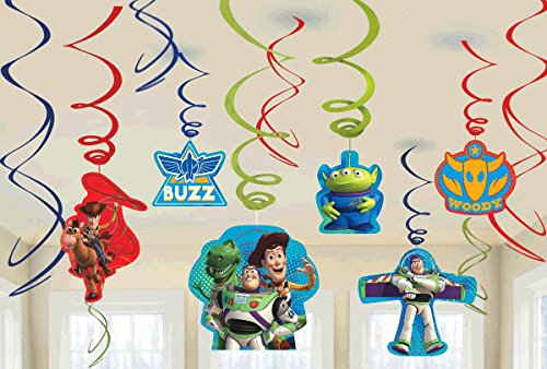 New Diseny Toy Story Party Foil Hanging Swirl Decorations / Spiral Ornaments (12 PCS)- Party Supply, Party Decorations