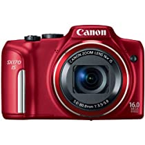 Canon PowerShot SX170 IS 16.0 MP Digital Camera with 16x Optical Zoom and 720p HD Video (Red)