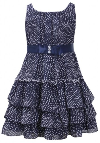 Navy-Blue And White Dot Print Tiered Chiffon Dress Nv3Na, Navy, Bonnie Jean Little Girls 2T-6X
