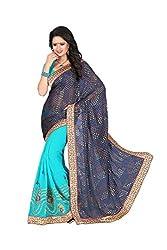 Kimisha Women's Georgette & Brasoo Embroidered Half&Half Saree (GFSLN20 Dark Blue & Light Blue)