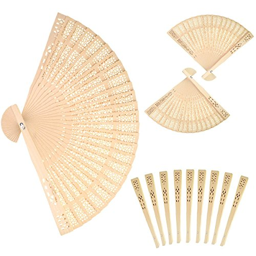 Sandalwood Fan (Set of 12 pcs)- Baby Shower Gifts & Wedding Favors (Sandalwood Folding Fan compare prices)