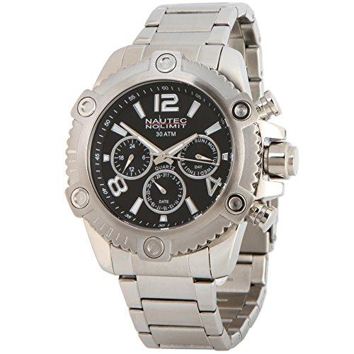 No limit Nautec hombre-reloj analógico de cuarzo de acero inoxidable FRBL-QZ-STSTST-BK
