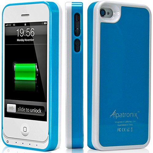 Alpatronix Mfi Apple Certified Bx100 1900Mah Iphone 4/4S Battery Charging Case (Ultra Slim Removable Extended Battery, Fits All Models Of Apple Iphone 4/4S - Retail Packaging) - Blue/White