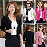FUNOC Womens Double Breasted long Sleeve Slim Short Suit Blazer Jacket Coat Outwear
