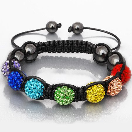 'New just arrived Chakra Shamballa friendship bracelet multi coloured disco balls representing 7 energy centres of the body & Genuine Hematite stone beads excellent quality for a fraction of the price of celebrity bracelets. Uni-sex RRP £69