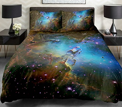Anlye Galaxy Quilt Cover 3D Printing Galaxy Duvet Cover Galaxy Never Fade Sheets Space Sheets Outer Space Bedding Set With 2 Matching Pillow Covers (Queen) front-858363