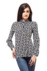 Femme India Women Poly Crepe White and Black Zebra Formal Top