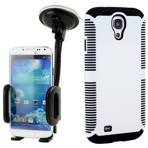 Celljoy Hybrid Tpu 2Pc Layered Sport Hard Case Rubber Bumper + Dash Mount Car Holder Bundle For Samsung Galaxy S4 Siv (At&T / Verizon / Us Cellular / Sprint / T-Mobile / Unlocked) [Celljoy Retail Packaging] (White & Black)