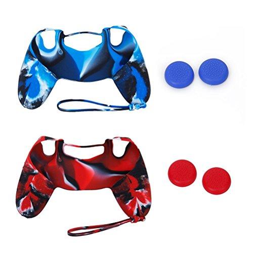 Pixnor 2 séries de prime qualité Portable peau protectrice affaire couvercles et bouchons joystick Joystick pour Sony PlayStation 4 PS4 contrôleur