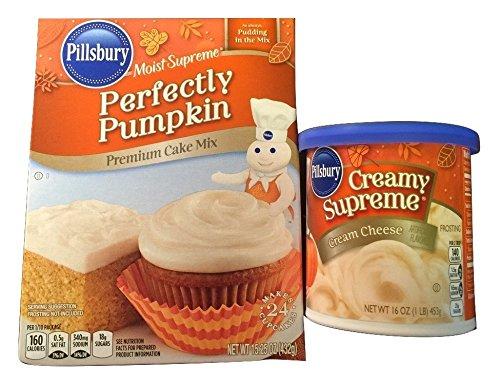 Pillsbury Moist Supreme Perfectly Pumpkin Premium Cake Mix (15.25oz) PLUS Creamy Supreme Cream Cheese Frosting (16oz) (Pillsbury Plus Cake Mix compare prices)