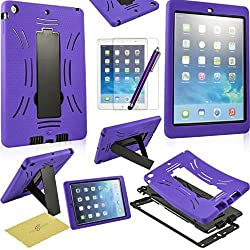 IPAD Air 2/IPAD 6 Case Stand, Fulland Hybrid Heavy Duty Hard Plastic/Soft Silicone Case with Stand for Apple Ipad Air 2 plus bonus Stylus Pen and Screen Protector --Purple/Black