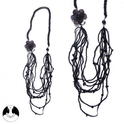 sg paris women necklace long necklace 8 rows 74 cm black glass