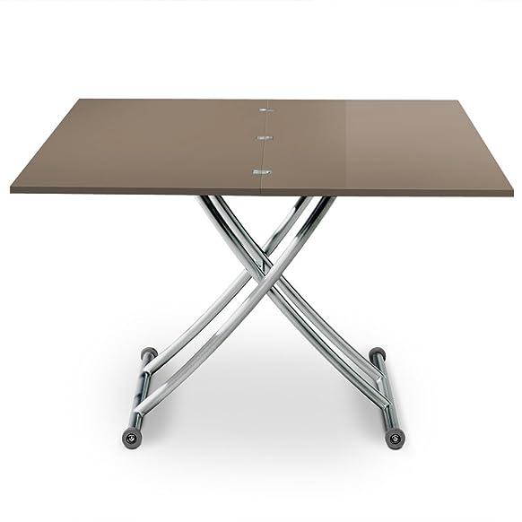 menzzo Contemporain Carrera Tavolino sollevabile legno/acciaio inox 57/100x 100/114,2X 39/76,3cm contemporaneo grigio