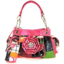 Beautiful! 3d Flower Patchwork Pink Satchel Purse (Pink Satchel Purse)