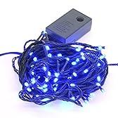【ブルー】イルミネーションLEDライト クリスマスライト 100球 点灯パターン記憶メモリー付 防雨仕様 連結可 8パターン点灯・コントローラ付