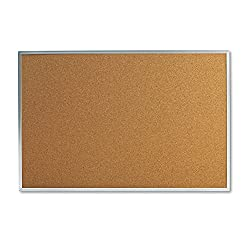 Universal 36 x 24 in. Natural Cork Bulletin Board with Aluminum Frame