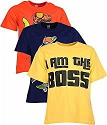 Goodway Pack Of 3 Senior Boys Graphic Tee Dragon-Dino-Im d Boss Prints Combo
