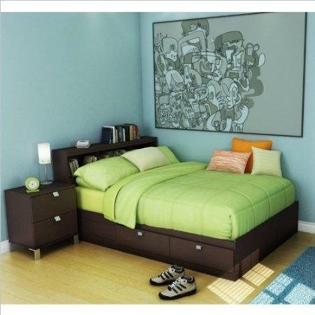 Cheap South Shore Cakao Kids Full Storage Bed 4 Piece Bedroom Set in Chocolate (3259211-4PKG)