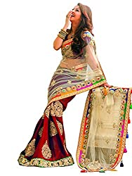 Try n Get's Red color Faux Georgette,Net , Embroiderd saree With Unsttiched Blouse