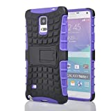 Samsung Galaxy Note 4 Stand Case, Galaxy Note 4 Case, Heavy Duty Rugged Dual Layer Case made of flexible and durable TPU material and with built-in Kickstand (purple/black)