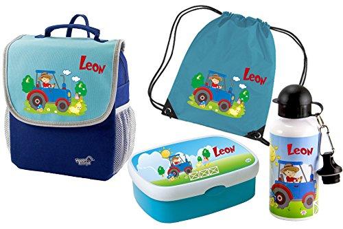 Kindergartenrucksack-Happy-Knirps-mit-Name-und-Wunschmotiv-blau-SET-5-Rucksack-Brotdose-Turnbeutel-Trinkflasche