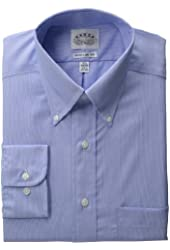 EAGLE Men's 100% Cotton Broadcloth Non Iron Long Sleeve Dress Shirt