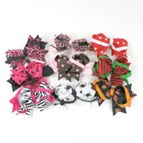 Loopy Surrounder Bows (Black/White Spider) Halloween Girls Hairbows Baby Toddler front-342241