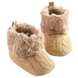 LiveBox Infant Baby Cotton Knit Premium Soft Sole Anti-Slip Mid Calf Warm Winter Prewalker Toddler Boots (S:0~6 months, Khaki)