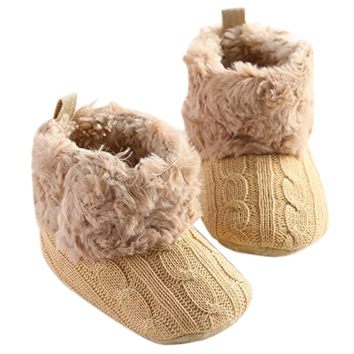 LiveBox Infant Baby Cotton Knit Premium Soft Sole Anti-Slip Mid Calf Warm Winter Prewalker Toddler Boots (L: 12~18 months, Khaki)