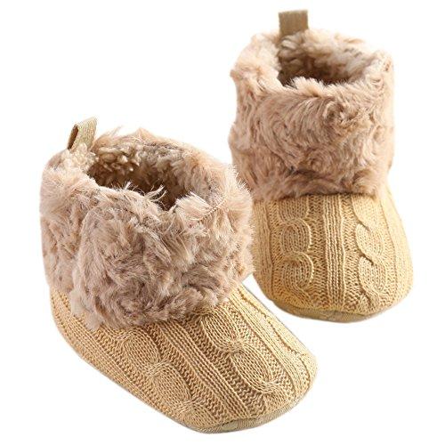 LiveBox Infant Baby Cotton Knit Premium Soft Sole Anti-Slip Mid Calf Warm Winter Prewalker Toddler Boots (L: 12~18 months, Khaki)
