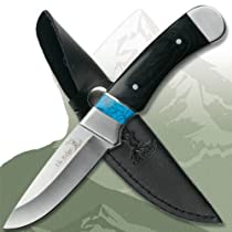 New MC Hunter Knife 440 Stainless Steel Blade Black Pakkawood Handle With Turquoise Inlay