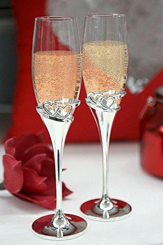 Casablanca Design Lot de 2verres à champagne Motif cœurs