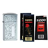 Zippo 1652 Slim Venetian Patterned High Polish Chrome Windproof Lighter with Two Flint Card and One Wick Card