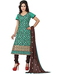 Lookslady Brand Women's Clothing Cotton Turquoise Semi Stitched Salwar Kamiz Dupatta Suit | Quality Checked | Genuine Product | Not a readymade dress